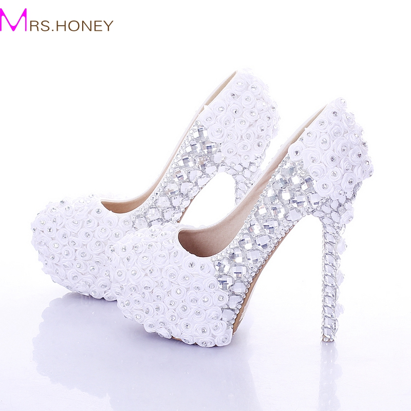 White and Red Super High Heel Rose Flower Bridal Dress Shoes Rhinestone Wedding Party Prom Shoes Lady Platform Women High Heels<br><br>Aliexpress