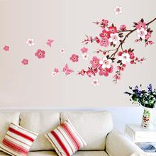 1PC Peach Blossom Flower Butterfly Removable DIY Wall Sticker Decal Art Wall Stickers Fit for home office market wall Sticker W3