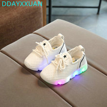 2017 New Fashion Children Shoes With Light Led Kids Shoes Luminous Glowing Sneakers Baby Toddler Boys Girls Shoes LED EU 21-30