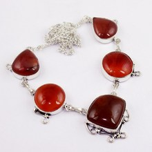 Carnelian Necklace   Silver Overlay over Copper , 51cm, N0055