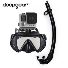 DEEPGEAR XIAOMI ACTION CAMERA DIVING SET Large version silicone single lens scuba mask to Gopro Hero Full folded silicon snorkel(China)