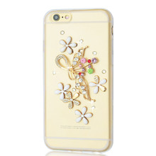 Pop high-end 3d Bling flowers Diamond Crystal Phone thin phone cover soft TPU Case For iphone6 6s 7 7plus 5 5s se 5c case