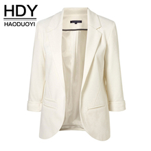 HDY Haoduoyi 2017 Autumn Women 7 Colors Slim Fit Blazer Jackets Notched Office Work Open Front Blazer Outfits Candy Color Coats(China)