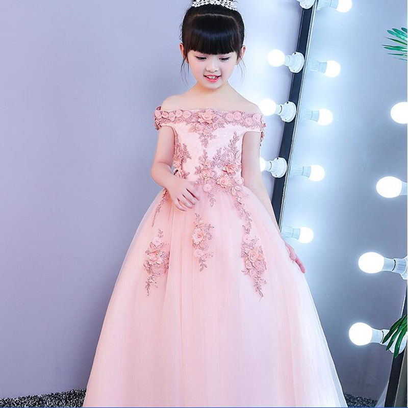 CHCDMP Girls Shoulderless Wedding Dress Beaded Appliques Party Princess Birthday Dresses First Communion Gown Festive Costumes<br>