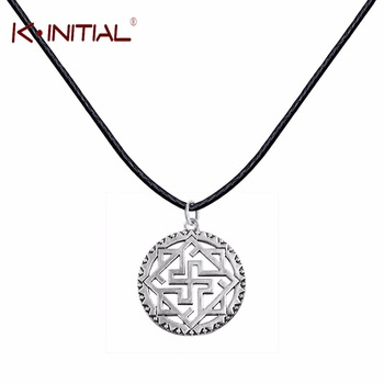 Kinitial 1Pcs Valkyrie Silver Slavic Pendant Necklace Viking Odin Thor Runes Warrior Charm Leather Chain Necklace for Women