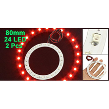 2 Pcs 80mm Dia Red 24 SMD LED Car Headlight Angel Eyes Ring Light