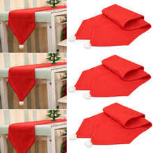 34X176CM Christmas Table Runner Mat Tablecloth Christmas Flag Home Party Decor Red Table Runners(China)