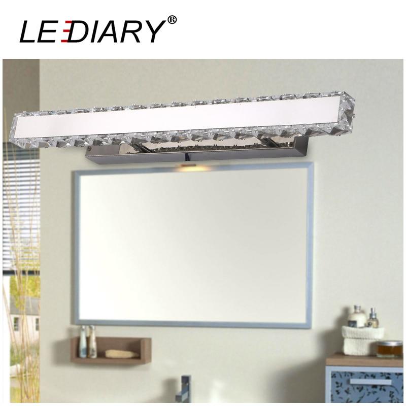 LEDIARY K9 Crystal Mirror Lamp Modern Style Wall Lamp 220-240V Stainless Steel Bathroom Lamp 30/50/72/90CM  Makeup Mirror Light<br>