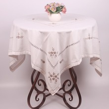 Pure White Cotton Linen Table Cloth for Wedding Party Table Decoration / Unique Chinese Handmade Flower Embroidery Table Covers(China)