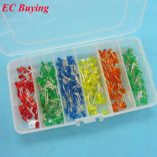 120 pcs 5mm LED Diffused Lamp Bead DIP Plug-in Blue/Orange/ Red/Yellow/Green/Emerald-Green SMD Mini Storage Box Assorted Kit