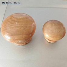 100x Wooden Kitchen Cabinet Drawer Knobs Mushroom Cupboard Handles Closet Cabinet Bars Bedroom Furniture Wood Pulls Wholesale(China)