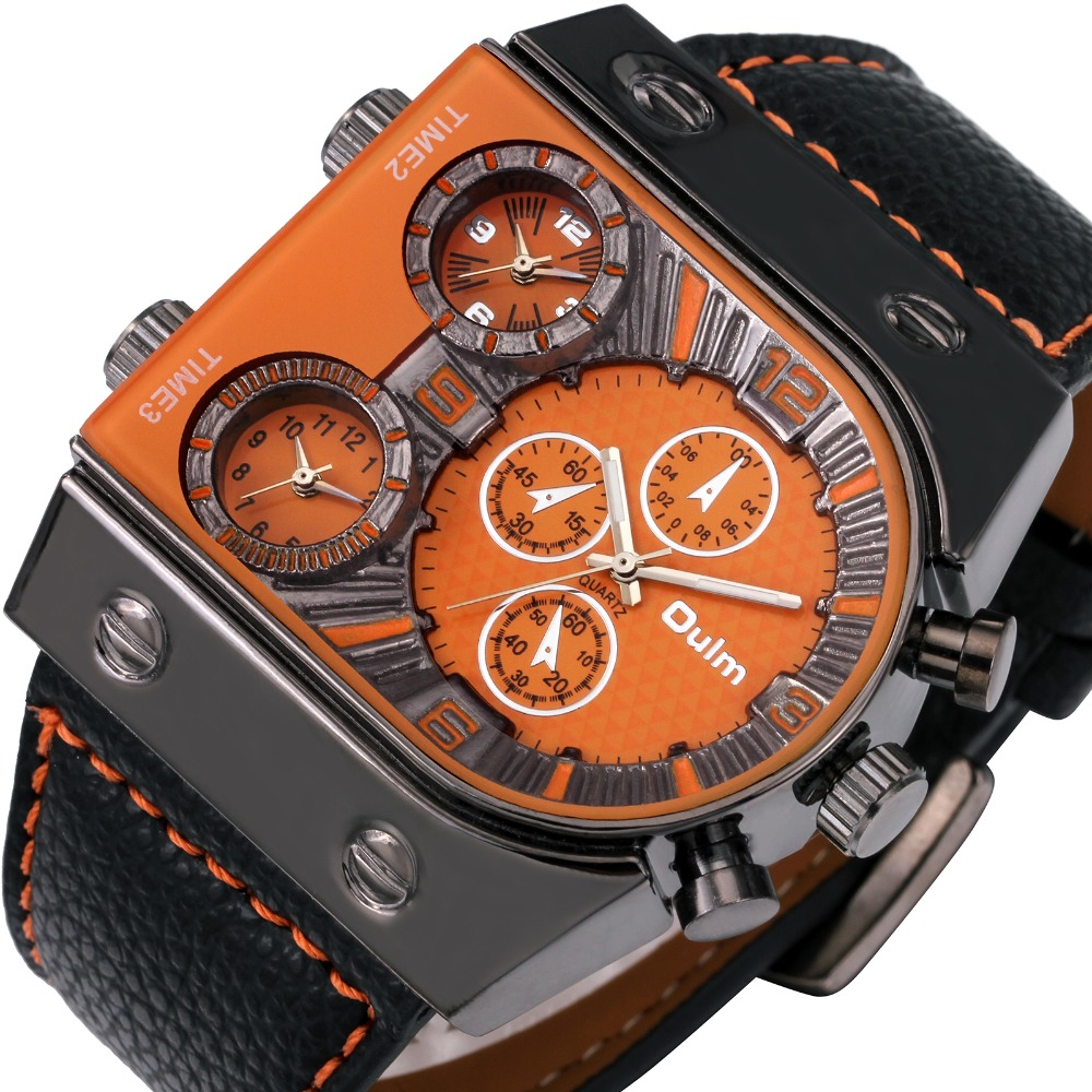 OULM HOT SELLING Mens Military Wristwatch Leather Strap Japan 3 Time Zone Black IP Square Case Quartz-watch DZ luxury watch men<br><br>Aliexpress