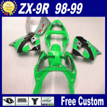 100% ABS plastic custom fairing for Kawasaki Ninja fairings ZX9R 1998 1999 zx9r 98 99 green fairing parts+7Gifts