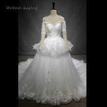 Buy Luxury Ball Gown Flowers Ivory Lace Wedding Dress 2018 Peplum Church Short Sleeves Bridal Gowns Custom Made robe de mariee for $676.80 in AliExpress store