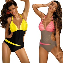 2017 New one piece Swimsuit Patchwor Swimwear Women Swimsuit Backless Sexy Bandage swim wear Women Solid Bathing Suit