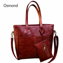 Osmond Vintage Composite Bags 2PCS Women Bag Set Fashion Ladies Casual Totes PU Leather Shoulder Bags Bolsa Femininas Handbags(China)