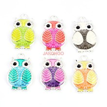 6pcs/lot Silver Plated Enamel Colorful Owl Charms Pendants for Jewelry Making DIY Handmade Craft Accessories 20x13mm(China)