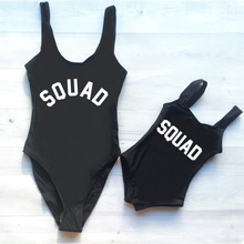 Girl Bikini Baby Swimwear SQUAD Letter Printing One Piece Swimsuit Children Beach Wear Kids Bathing Suit Monokini Bodysuit