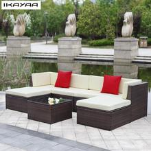 iKayaa US Stock Patio Garden Sofa Set Ottoman Corner Couch Sectional Furniture Rattan Wicker Cushioned Outdoor Furniture