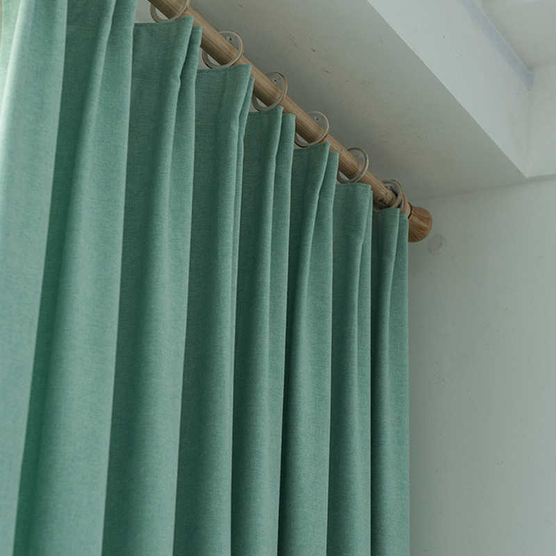 Turquoise Blackout Curtains for Bedroom Solid Color Office Decoration Modern Window Curtain Living Room