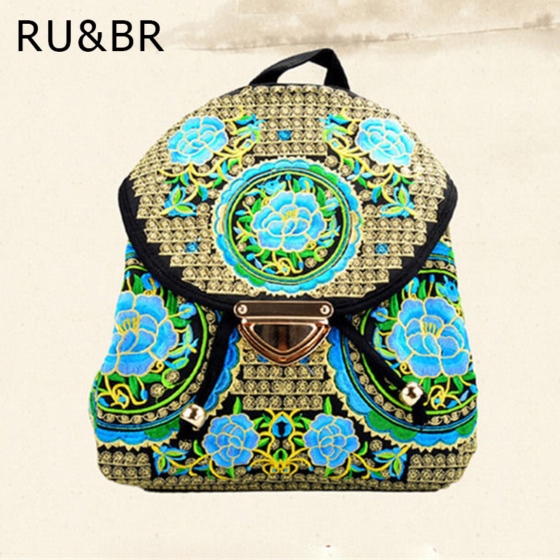 RU&amp;BR New Fashion National Wind Women Backpack Chinese Style Handmade Characteristics Backpacks Canvas Bags Embroidery Backpacks<br><br>Aliexpress