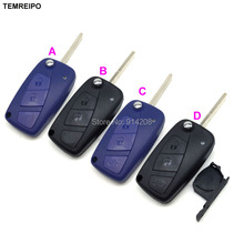 10pcs/lot Folding remote car keys shell for fiat 3 button modified flip remote key blank with battery holder on side