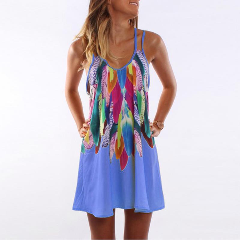 Women Bohemian Dress Feather Printed Beach Dress Causal Loose Spaghetti Strap Short Summer Dress S-5XL Plus Size Robe WS804O 5