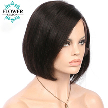 FlowerSeason Brazilian Non-Remy Hair Short Bob Lace Front Wigs Human Hair Silky Straight Natural Color Pre Plucked Hairline(China)