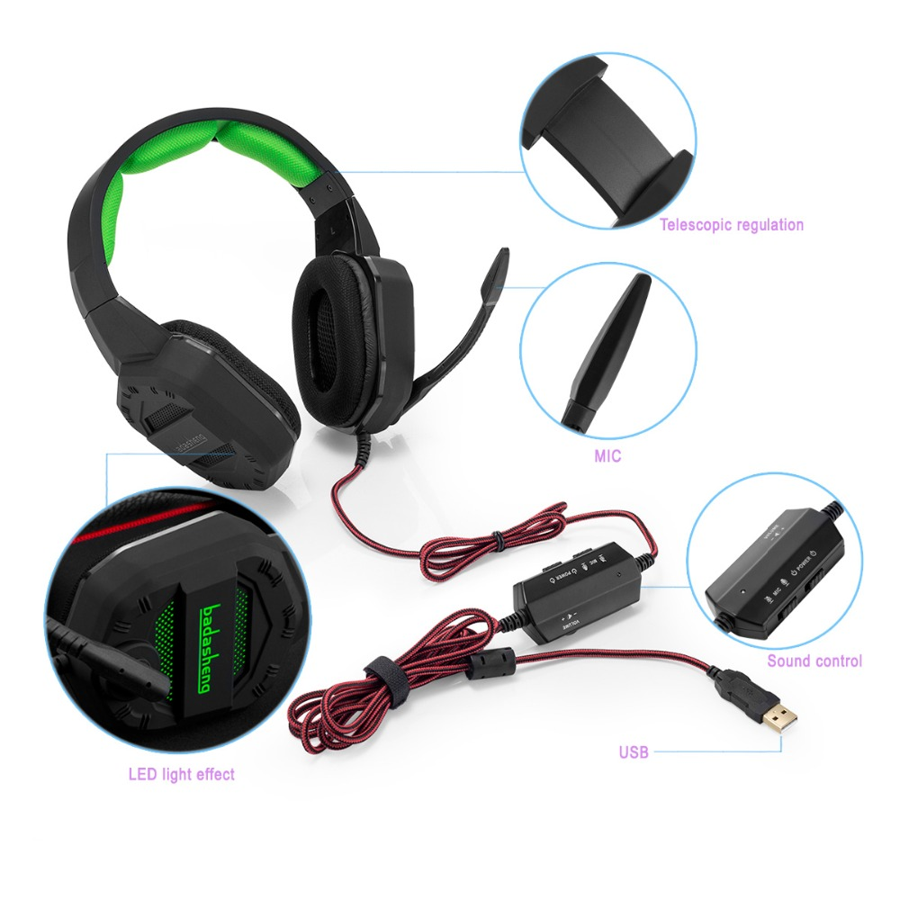 Virtual 7.1 Gaming Headset for PS4 , Iphone , Ipad , Smartphone , Tablet , Mac,XBox One with LED light Stereo gaming headset(China (Mainland))