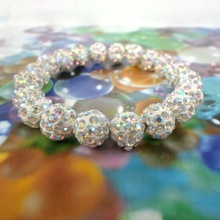 BS1981 2015 Big Sale Shamballa Bracelets Bangles Pave 10mm Crystal 20 pcs white AB color(China)