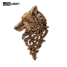 3 Colors Men Retro Antique Silver Plated large brooches Shirt Collar Suit Wolf Badge Brooch Lapel Pin prendedores Party Jewelry