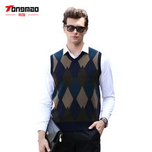 Mens Sweater 2017 New Autumn Winter Warm Soft 100% Pure Wool Men Pullover Vest Casual Solid Color V-Neck Slim Argyle Men Sweater(China)