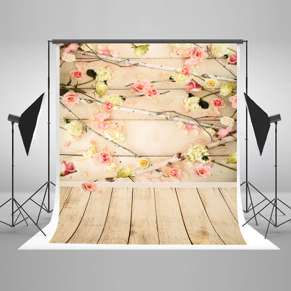 5X7 Wood Flowers Backdrop for Photography Cotton Portable Newborn Photographic Background Foto for Fond Studio Photoshoot Kate <br>