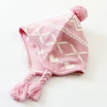 Hot  Pink Diamond Jacquard  Cotton Baby Hat Embroidery Crochet Baby Beanies Kids Fall Winter Cap Handmade Windproof Earmuff Cap