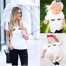 Mother And Daughter Clothes Cute Wink Pattern T Shirt Baby Rompers Mother&Kids Clothing Suit Mother Daughter Outfits Family Look(China)
