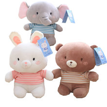 23cm/32cm cute Pink flappy ear elephant plush toys stuffed white Rabbit pink ears Cute brown bear toys for kids Baby plush toy(China)