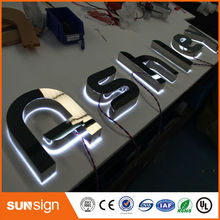 Advertising backlit led channel letter signs with stainless steel face