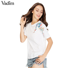 women sweet flower embroidery T shirt short sleeve o-neck summer fashion tees ladies streetwear casual tops camiseta DT967(China)