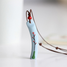 Miage Handmade China Ceramic Fish Flower Rectangle Pendant Necklace Women Folk-Custom Ethnic Moist Whistle Leather Rope Jewelry