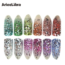 AriesLibra Hotsale 12pot/set Holographic Colors Powder Nail Glitter Powder Nail Art For Nail Decoration Nail Glitter Dust(China)