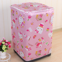 Hello Kitty Print Floral Satin Cloth Thicken Washing Machine Dust Cover Waterproof Sunscreen Washing Machine Cover Closet