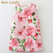 Bear Leader Girl Dress 2017 New Summer Kids Clothes Children Clothing Brand Rose Flowers Print Sleeveless Baby Girl Dress Party