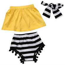 3PCs/set Summer Baby Girls clothes yellow Tube Top Shirt +Tassel striped Shorts +Headband Outfit 1-6years Children clothing sets