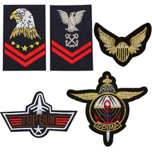 "5pc military Set ""top gun"" eagle embroidered patches for clothing costume army logo sew iron on clothes badge motif appliques(China)"