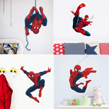 newest 4 designs popular HERO Spiderman Cartoon Movie kids room decal wall sticker boy birthday toy gifts stickers free shipping(China)