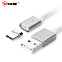 ZRSE Original USB Type C Magnetic Cable 1M Nylon Magnet Charger Mobile Phone Charing Cable For XiaoMi Huawei Samsung Meizu Letv