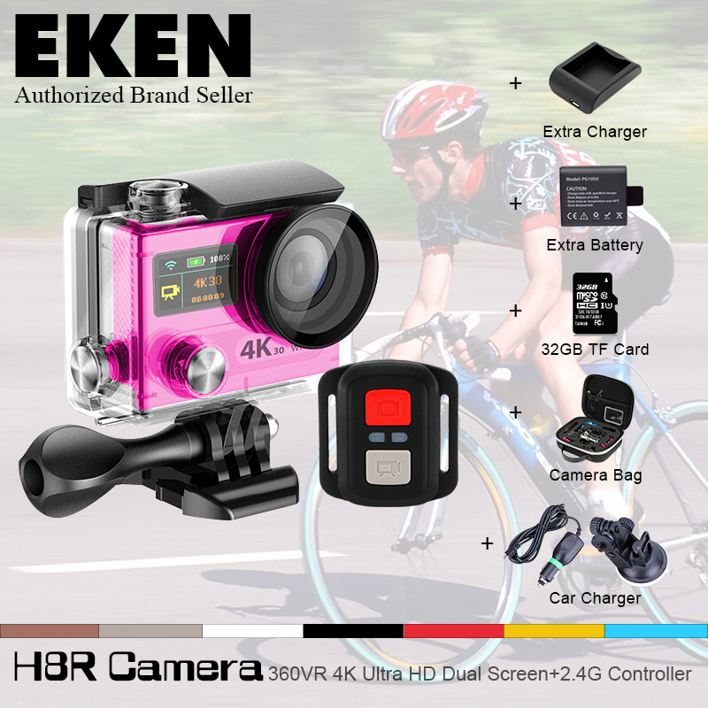 2016 Hot Ultra HD 4K WIFI Sport Action Camera EK EN H8R with remote control Dual Screen 2 LCD Waterproof Helmet MINI Camcorder<br><br>Aliexpress
