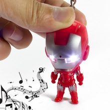 Hot Sale 3D LED Keychain Ironman Action Figures Toys With Sound Keychain Bags Accessories Best Birthday Christmas Toy Gifts