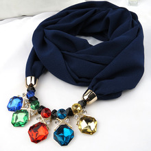 Multicolor Solid Chiffon Pendant necklace Scarves turban jewelry Ethnic Women Turban Shawl Color diamond Collar Scarf Wraps New(China)