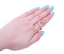Factory Direct Sale Gold Snake Ring With Crystal Finger Nail crystal Ring Fashion Jewelry For Personality Women Girl R009